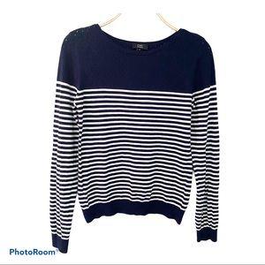 CHIC by Jacob Knit Stripe Navy/White Women Sweater